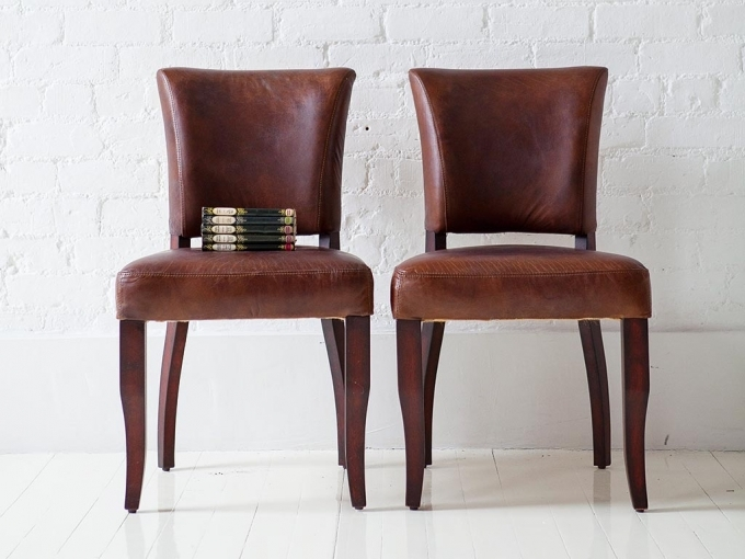 Vintage Brown Leather Dining Chairs Furniture Design Photo