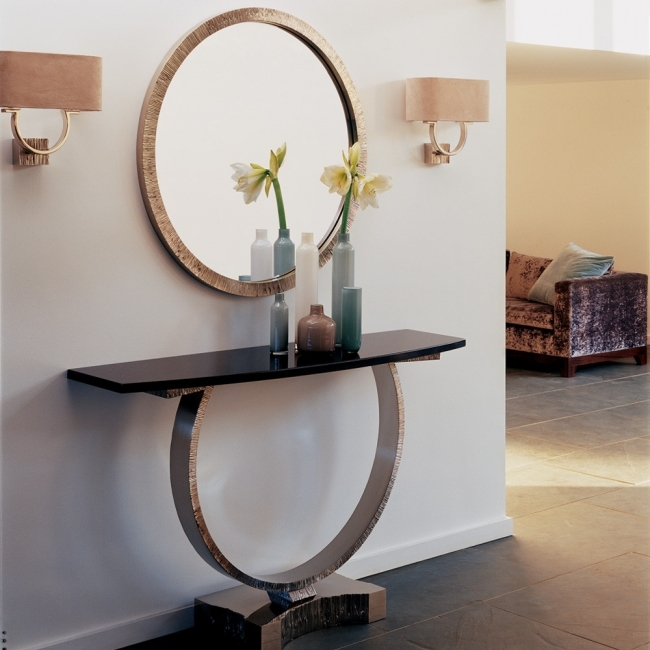 Mirrored Hallway Furniture Modern Foyer Decorating Ideas With Elegant Modern Metal Console Table Pic