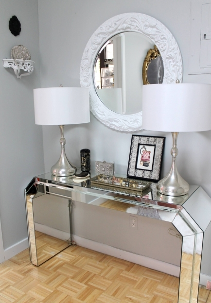 Mirrored Hallway Furniture Modern Mirrored Console Table With Drum Twin Modern Acrylic Table Lamp Plus Images