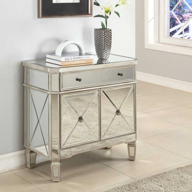 Mirrored Hallway Furniture Powell Mirrored 2 Door Console Table Picture