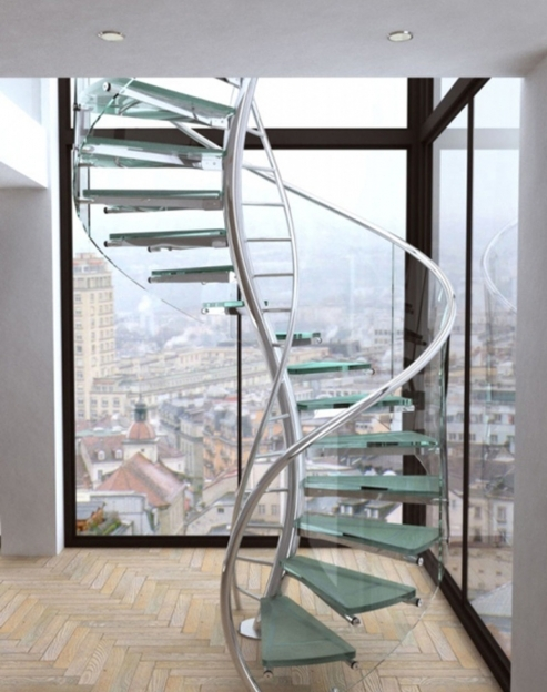 Spiral Staircase Kits Interior Stair Railing With Unique Design Using Stainless Steel And Glass Pic