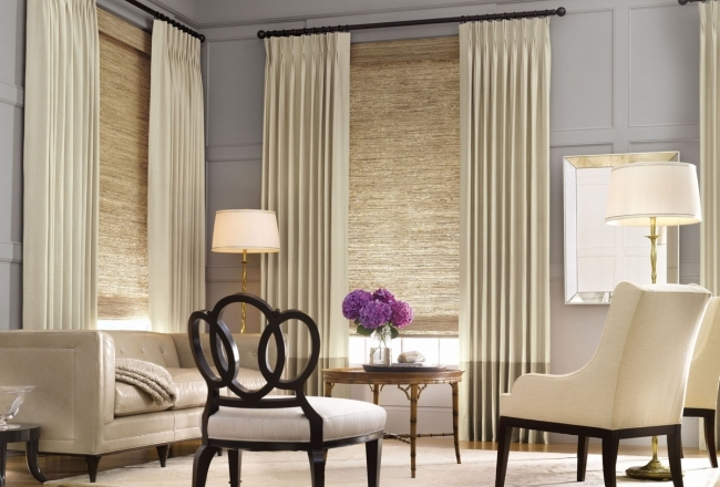 Fancy Contemporary Window Treatments For Bay Windows Decor With Modern Table Lamp Inside With Cream Modern Sofas Photo
