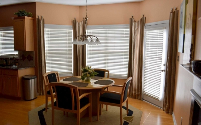 Overwhelming Contemporary Window Treatments For Bay Windows With Octagon Cream Carpet Rug  Photo