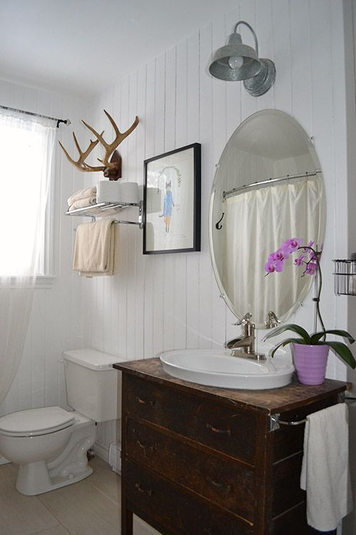 Bathroom Renovation Cheap Ideas Vintage Style Rustic Bathroom with a Chest of Drawers