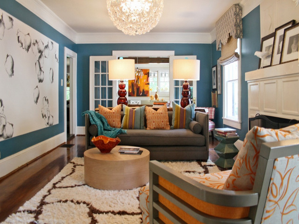 Cool Interior Painting Schemes for Living Room Blue Color Pictures 04