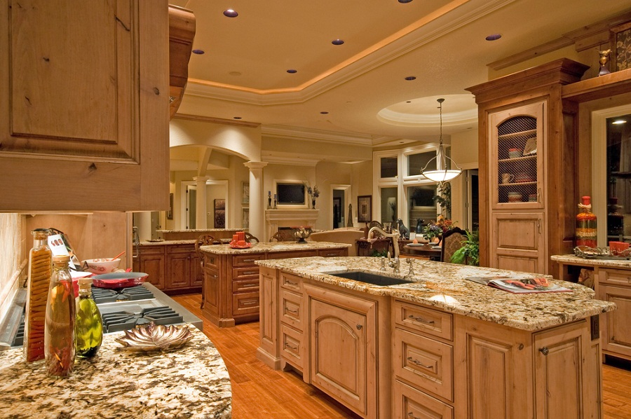 Great Custom Luxury Kitchen Designs With Sink And Dark Wood Flooring