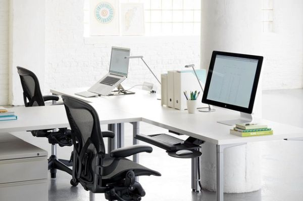 Modern T-Shaped Office Desk For Two People