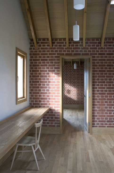 Amazing Painted Brick Homes With Wooden Door Feature And Wooden Window Photos