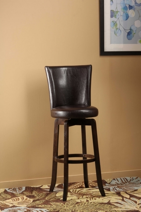 Attractive High End Bar Stools With Dark Brown Leather Hardwood Frame Photos