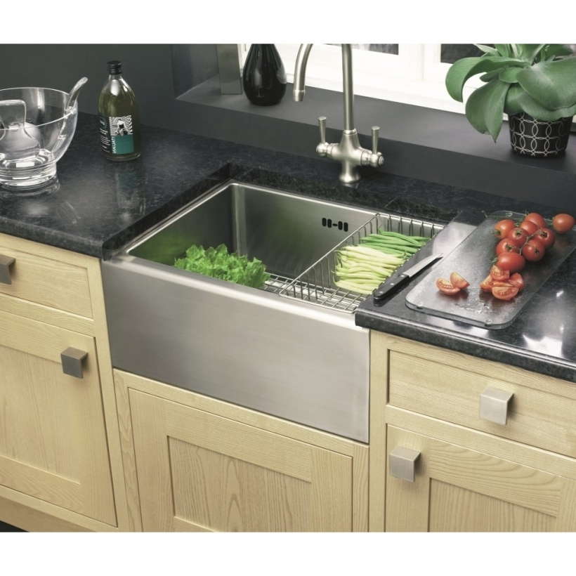 Beautiful Drop In Farmhouse Kitchen Sink With Black Granite Counter Tops Pictures