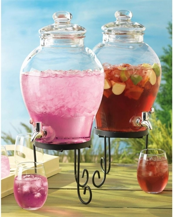 Beautiful Glass Drinks Dispenser  With Metal Spigot  Pictures