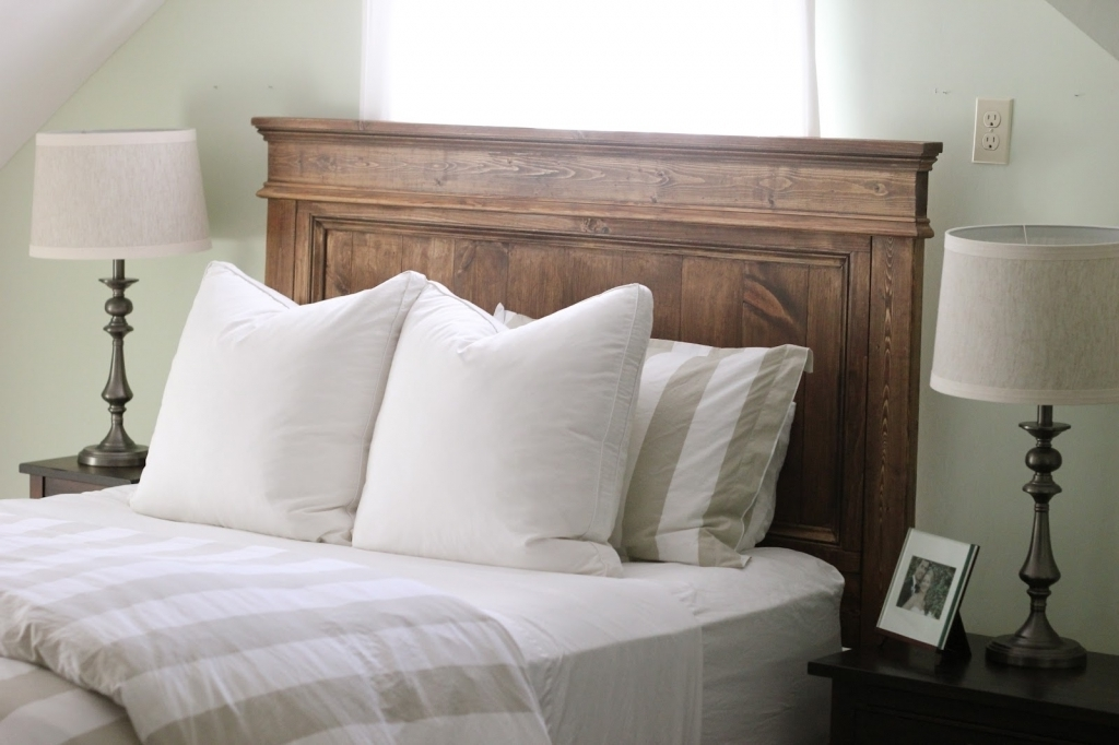 Classy Wood Headboard Designs For Elegant Bedroom Ideas With Brown Wood Teak Headboard And White Bed Sheet Images