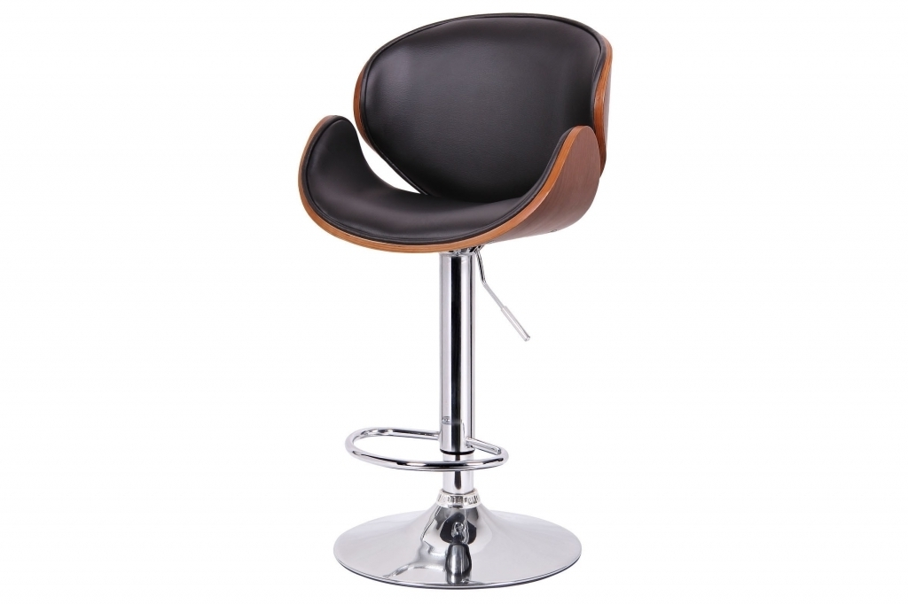 Comfy High End Bar Stools With Square Black Leather Stool And Silver Steel Legs Images