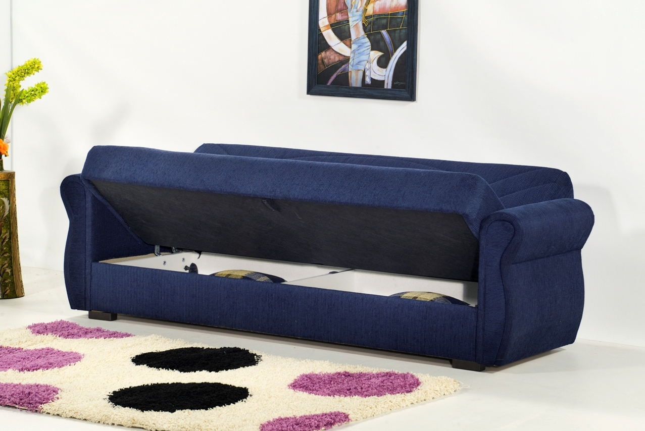 Comfy Sofa Sleeper With Storage Regarding Rain Chenille Marcopolo Blue Sofa Bed Kilim Perfect For Stylish Living Room