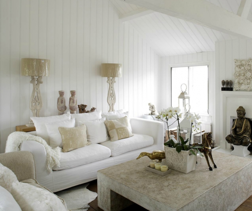 Comfy White Slipcovered Sofa Chunky Coffee Table Design Pictures