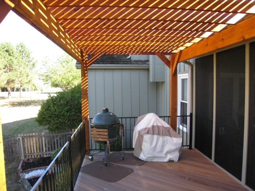 Cozy Pergola Front Porch Decoration With Brown Wood Photos