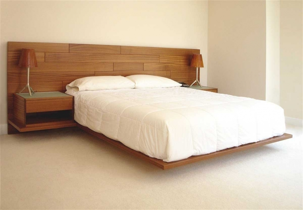 Cozy Wood Headboard Designs Using Floating Bed Design Pictures