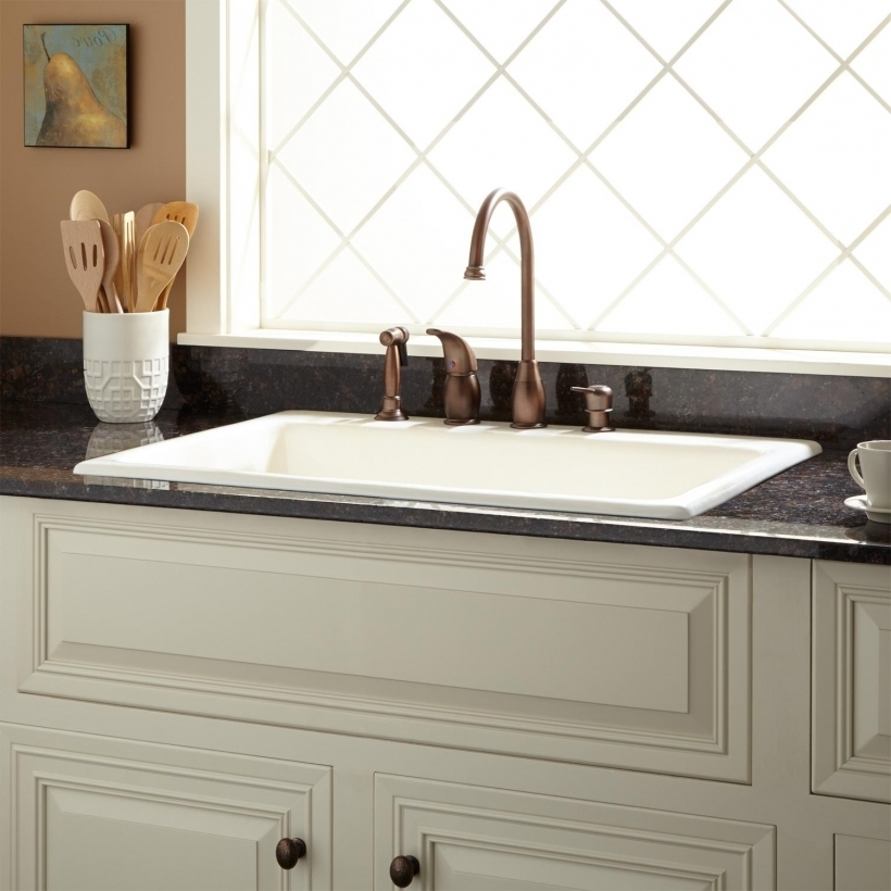 Delightful Drop In Farmhouse Sinks For Kitchens Cast Iron Sink Biscuit Holes Pic