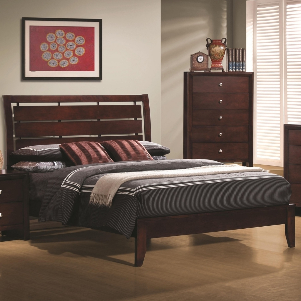 Delightful Wood Headboard Designs With Brown Wooden Bed And Dark Grey Bedding Pic