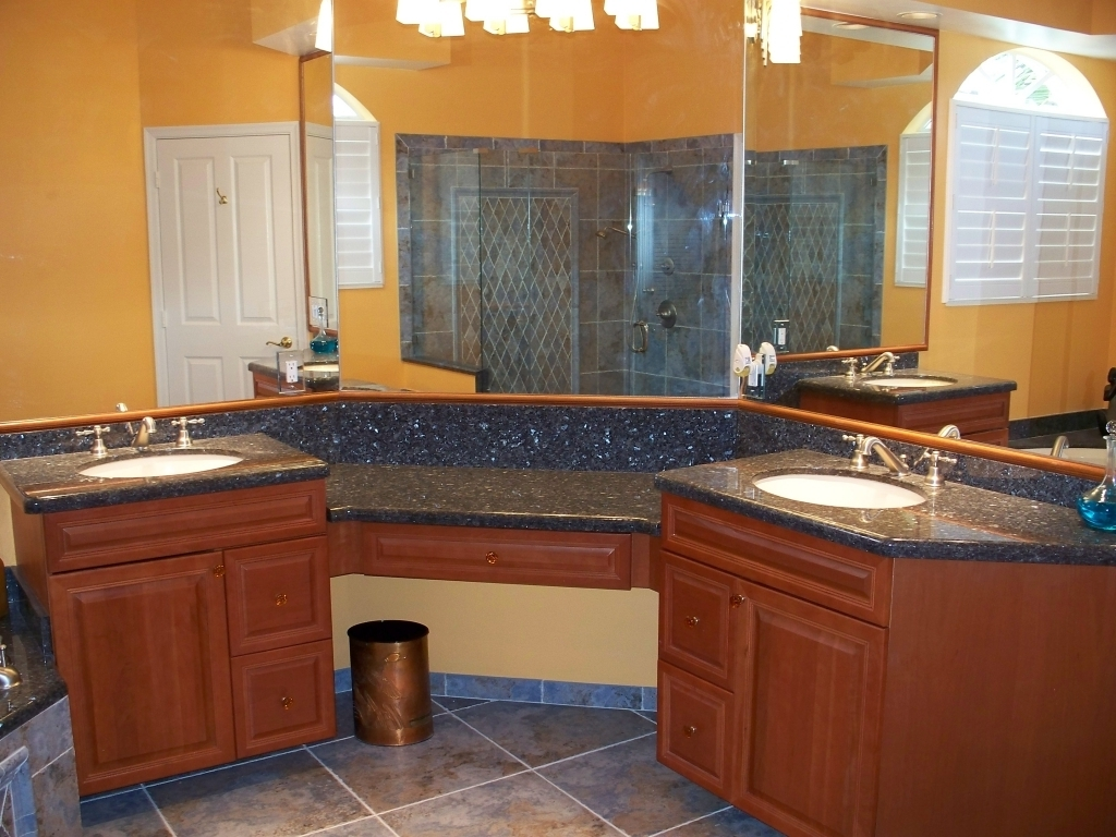 Extraordinary Blue Pearl Granite Countertop Ideas For Bahtroom With Double Vanity Photos