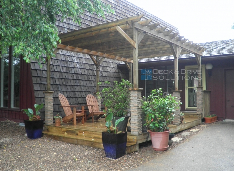 Great Pergola Front Porch With Stone Wrapped Posts Deck And Drive Pic