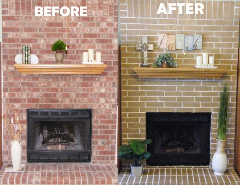 Inspiring Before And After Painted Brick Homes  Fireplace Makeover Concrete Stain Pictures