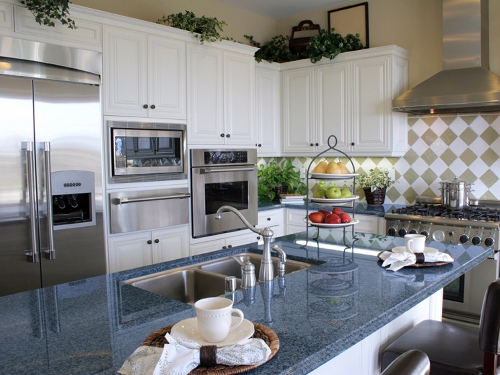 Nice Blue Pearl Granite Countertop Kitchen Island Installed Design Photos