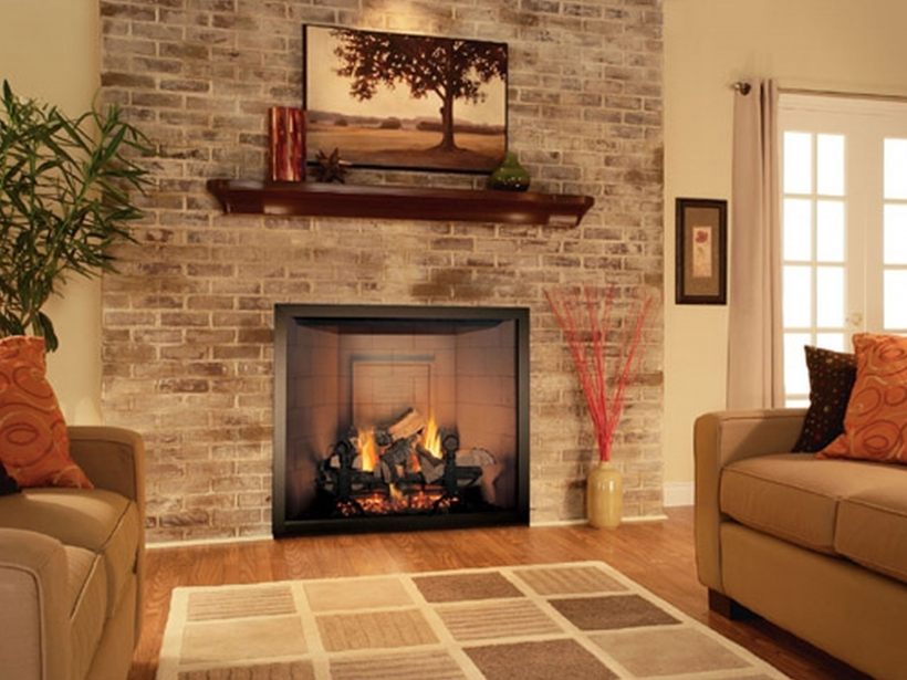 Nice Painted Brick Homes With Light Brown Sofa, Great Rug And Rustic Fireplace Images