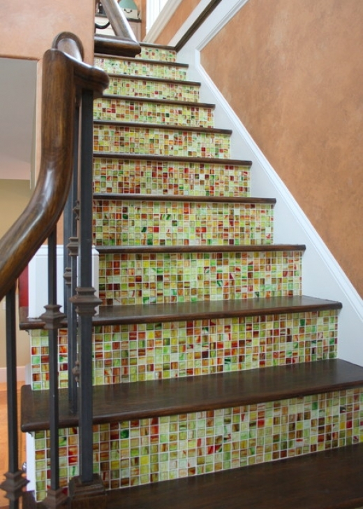 Tile Stair Risers Traditional Staircase Metro Tile Images