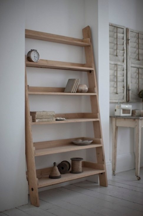 Wonderful Rustic Wooden Shelving Units Ladder In Traditional Home Living Room Rustic Shelving Units Pic