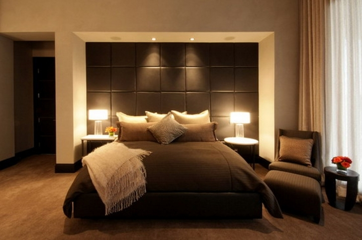 Attractive Small Master Bedroom Decorating Ideas Throughout Combined Brown Bed Sheet And Comfortable Brown Sofa Pic