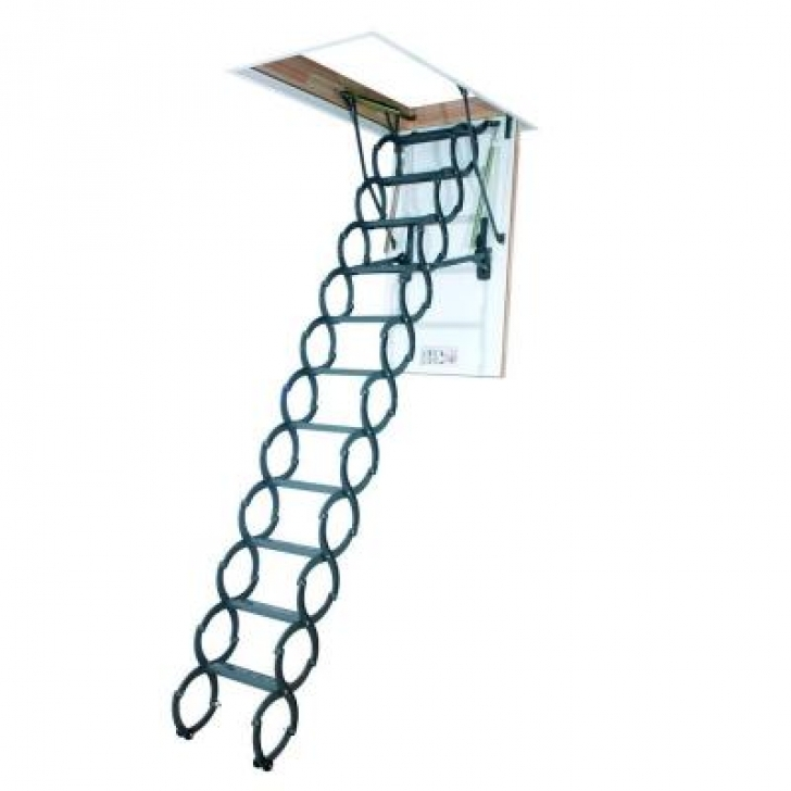 Awesome Attic Stairs Pull Down Pole Regarding Fakro 9 Ft 6 In 225 In X 31 In Insulated Steel Scissor Attic Pics