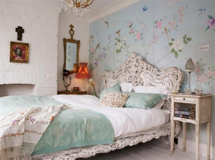 Beautiful Shabby Chic Bedroom Ideas Within Shab Chic Bedroom Wallpaper Design Pics