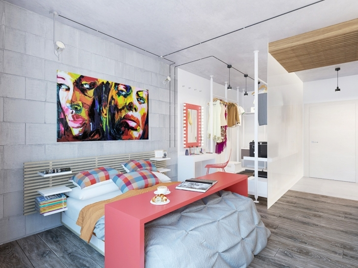 Beautiful White Brick Wallpaper Bedroom Inside Apartment Open Bedroom Layout And Wooden Floor Pic