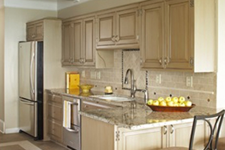 Chalk Paint Kitchen Cabinets In Mary Anne Traditional Kitchen Neutral Tan Cabinets  Photo