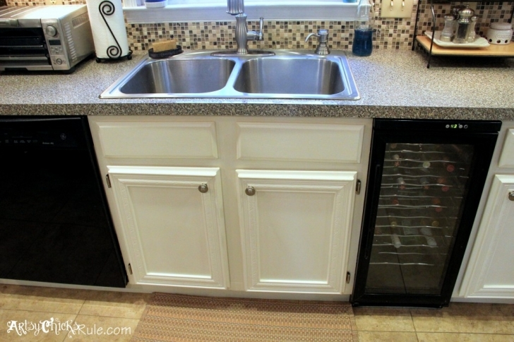 Chalk Paint Kitchen Cabinets Within Kitchen Cabinet Makeover With Chalk Paint Sink Area Image