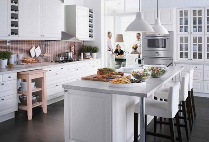 Classy Floating Kitchen Island With Seating With Minimalist Kitchen Design Ideas And Complete Sink Kitchen Appliances Also White Countertop Picture
