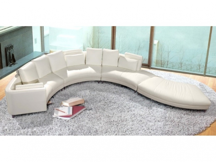 Curved Sectional Sofa Living Room Furniture Inside Stunning White Leather And Grey Fur Rug And Glass Wall Photos