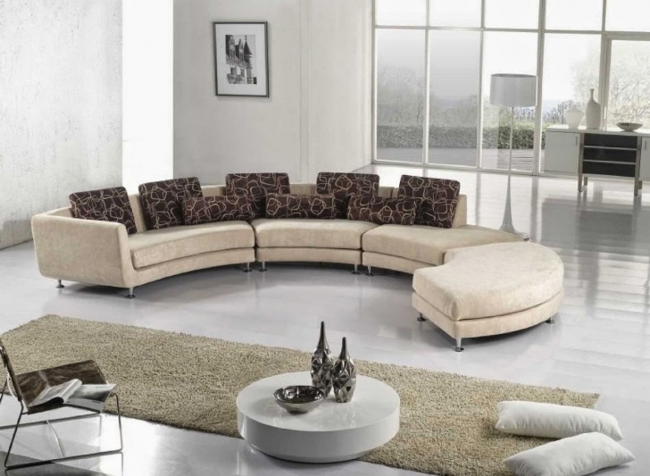 Curved Sectional Sofa Living Room Furniture With Fantastic Soft Fabric And Dark Motiv Pillow Also White Rug Fur Photo