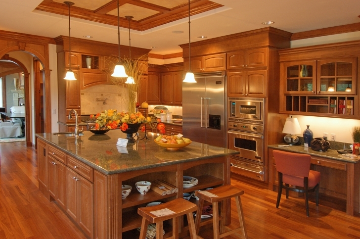 Custom Kitchen Cabinets In Cozy Rustic Maple Hickory Kitchen Cabinets With Brown Marble Countertop Images