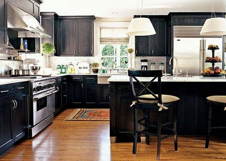 Custom Kitchen Cabinets With Fantastic Black Island And Cabinetry Also White Granite Countertop Photos