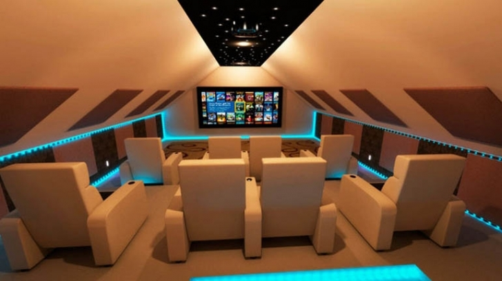 Delightful Home Theatre Seating Ideas With Simple Stylish Decoration Pic