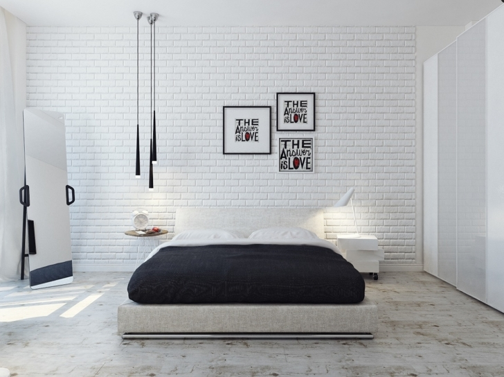 Delightful White Brick Wallpaper Bedroom With Attractive And Stylish Home Pic