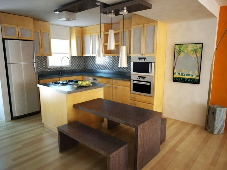 Excellent Floating Kitchen Island With Seating In Small L Shape Kitchen Decoration Using Square Solid Light Oak Wood Kitchen Pic