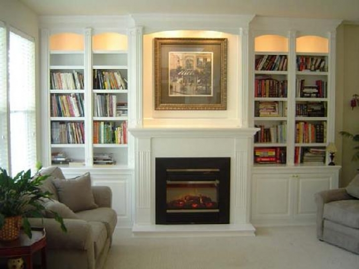 Attractive Built in Bookshelves Around Fireplace
