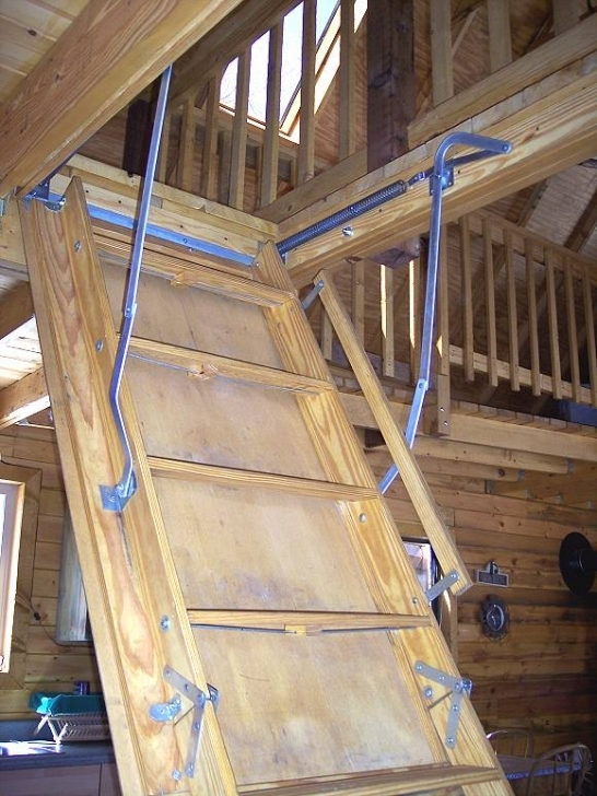 Fascinating Attic Stairs Pull Down Pole Within 14 X 24 Owner Built Cabin Picture