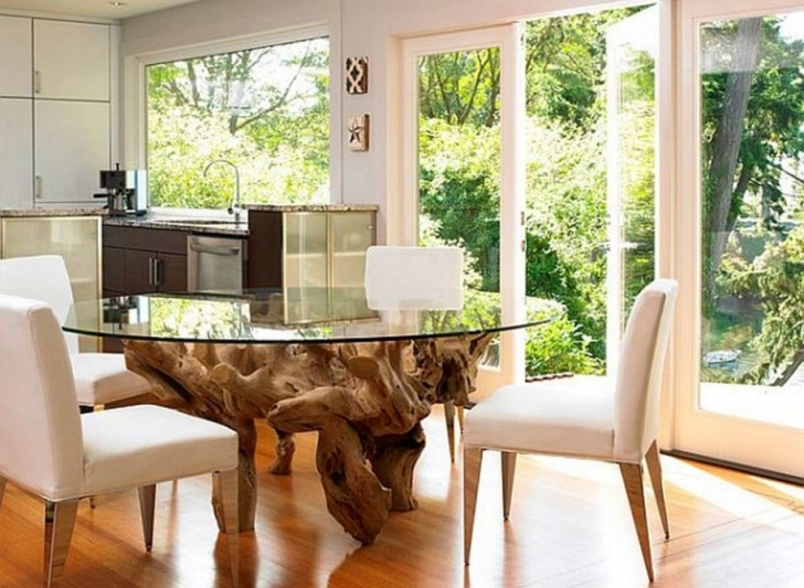 Glass Kitchen Tables For Small Spaces With Fantastic Contemporary Glass Dining Tables And Wonderful Hardwood Flooring Ideas Photo