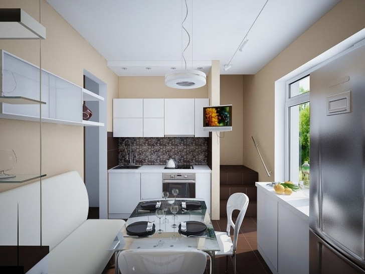 Glass Kitchen Tables For Small Spaces With Fantastic Decoration Beige Wall Paint And White Wood Kitchen Cabinet Image