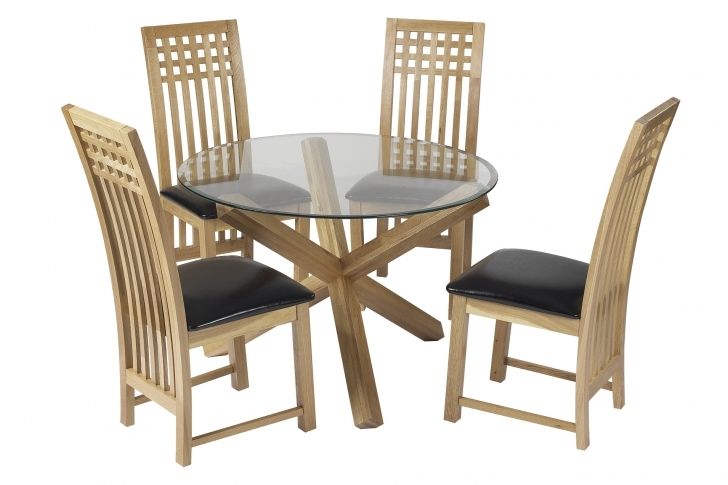 Glass Kitchen Tables For Small Spaces With Fantastic Round Tempered Glass Dining Table Set And Slat Back Chairs Images