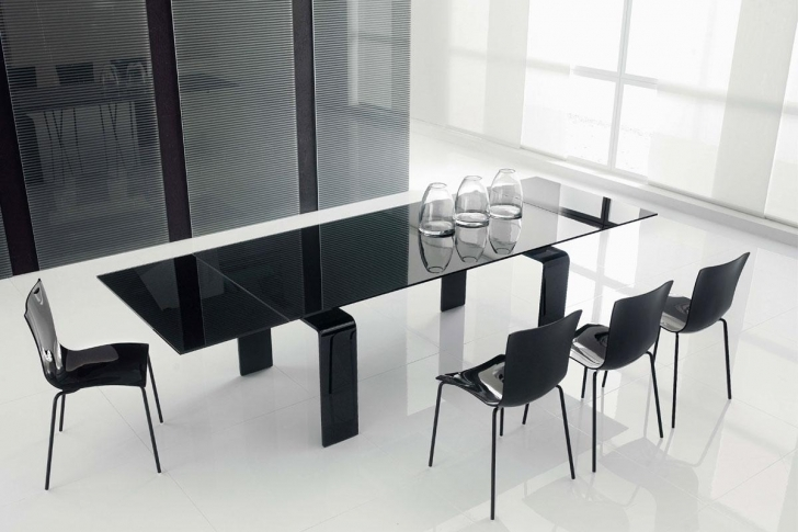 Glass Kitchen Tables For Small Spaces With Outstanding Modern Kitchen Tables Using Black Color Ideas Photos